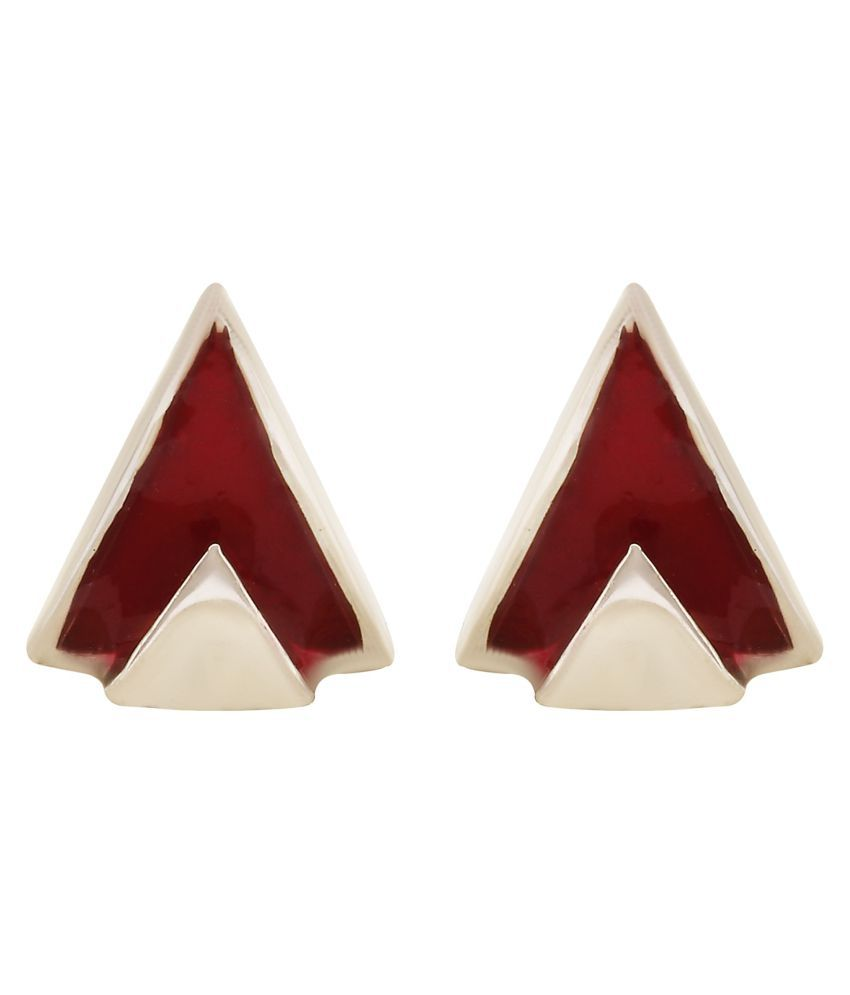 MAGS Silver Self Design Motif Theme Stud Earring for Girls (KEE-156-1, Red)