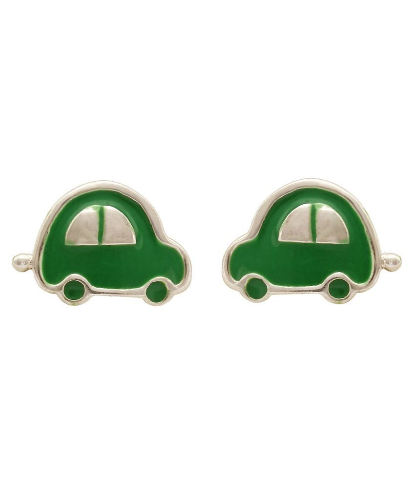 MAGS Silver Self Design Vehicle Theme Stud Earring for Girls (KEE-031-1, Green)