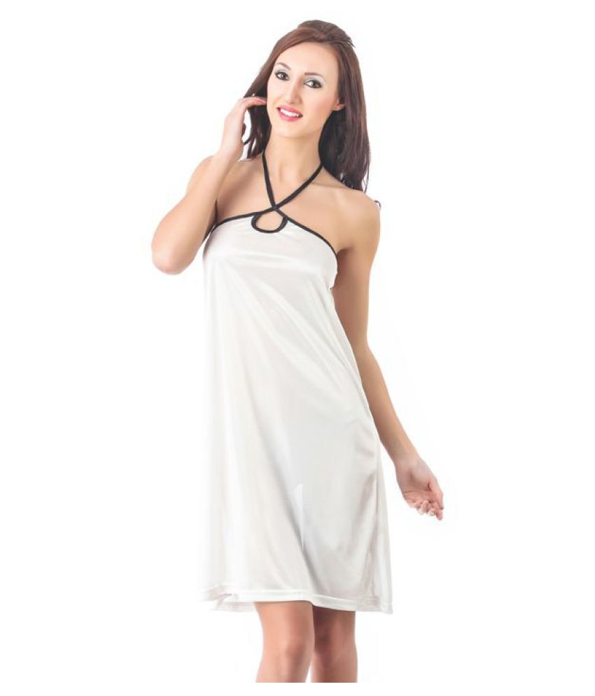 Buy fasense satin nighty night gowns white online at best prices in india  snapdeal jpg 850x995 75c274297