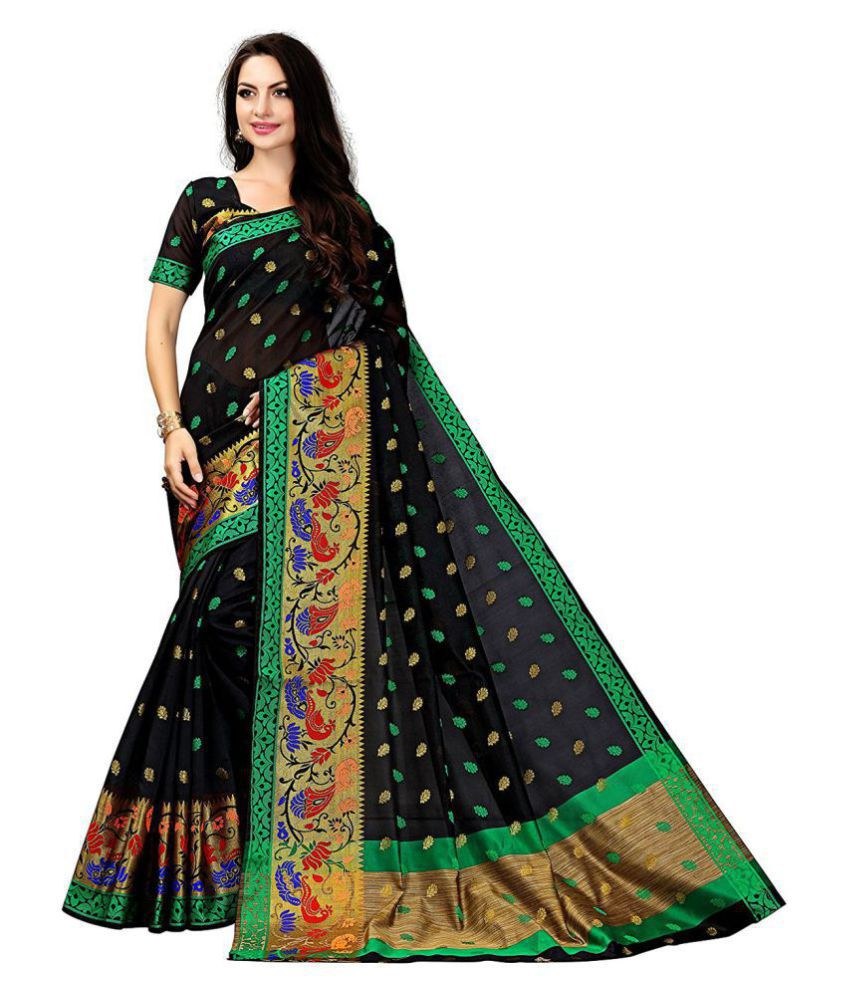 HnG Couture Green and Black Polycotton Saree