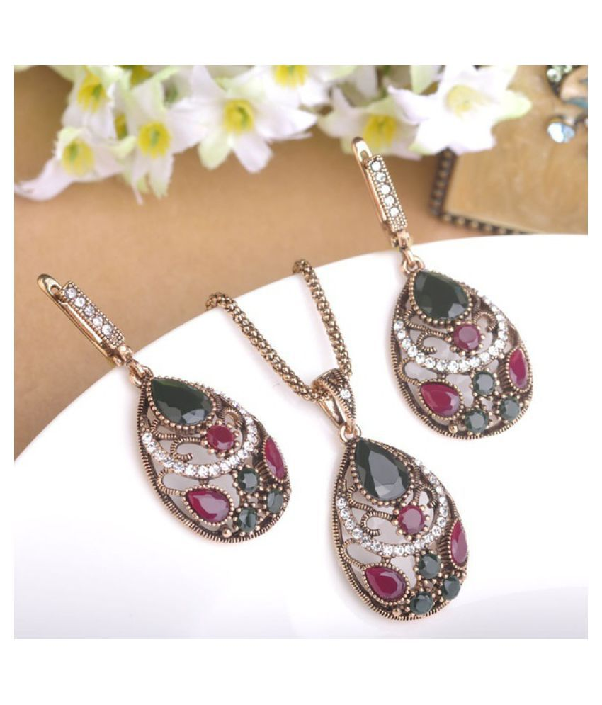 Kamalife 2Pcs/Set Trendy Jewelry Set Chic Bohemia Waterdrop Necklace Earring Statement Jewelry Sets For Women Lady Green