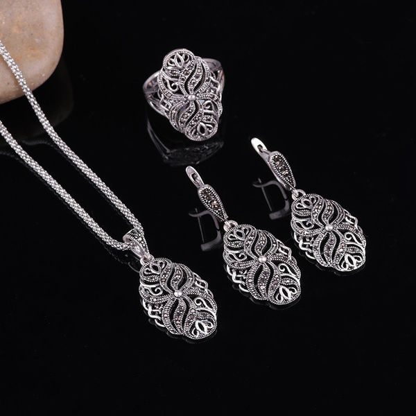 Kamalife Turkey Style Personality Vintage Hollow Necklace Earrings Ring Unique Jewelry Set Party Wedding Women Men Gift