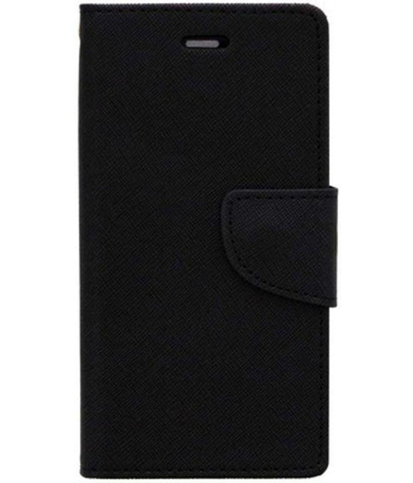 Honor 9 Lite Flip Cover by Kosher Traders - Black Premium Artificial Mercury