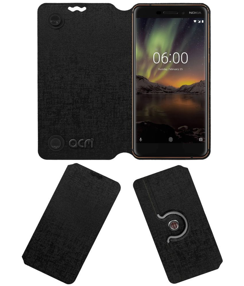 Nokia 6.1 Flip Cover by ACM - Black Dual Side Stand