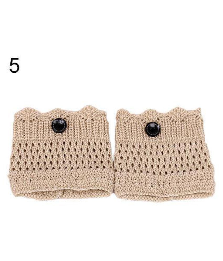 Fashion Women's Crochet Knit Trim Leg Warmers Cuffs Toppers Tassel Boot Socks