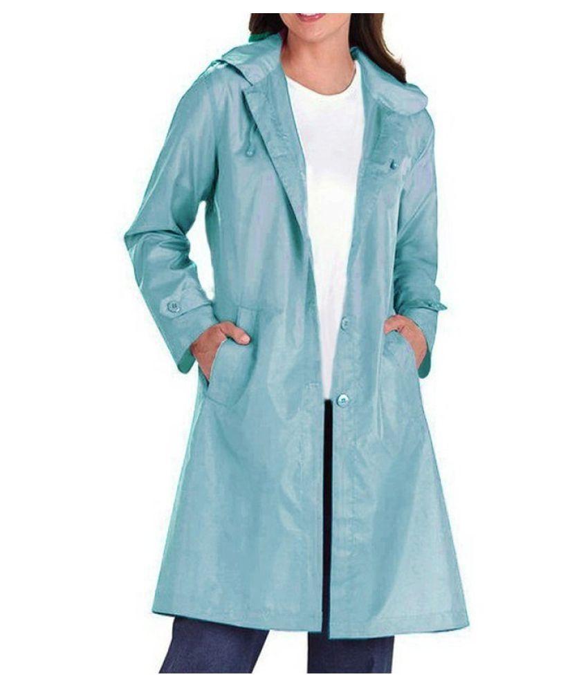 Changing Destiny Polyester Long Raincoat - Blue