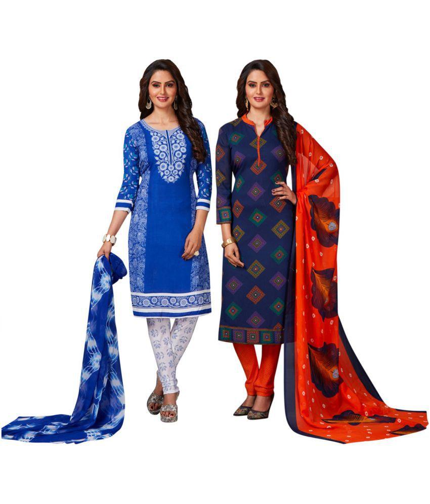 Jevi Prints Blue Crepe Dress Material