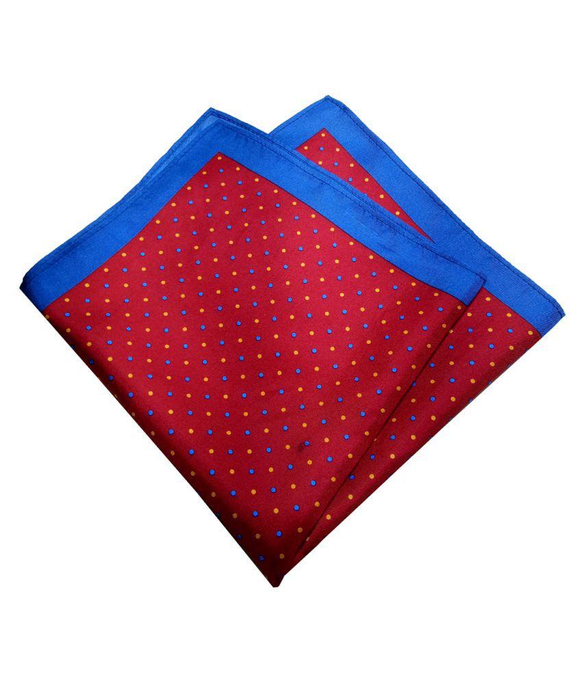 Mentiezi Silk Maroon Color Printed Pocket Square with Blue Color  Border