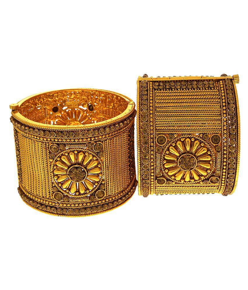Anuradha Art Golden Finish Studded Sparkling Stone Designer Traditional Bangles Set/Kada For Women/Girls