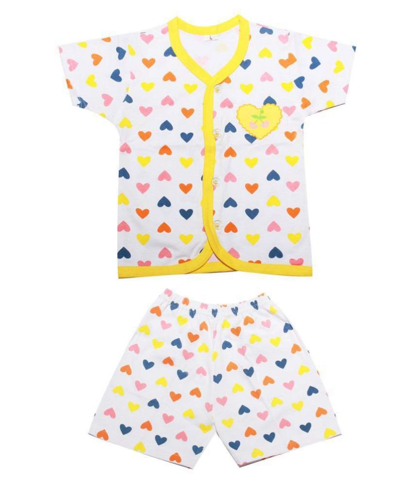 Babeezworld Baby Cotton Front Open Half Sleeves Cut Sleeve Sleeveless Vest Tshirt Jhabla Top & Cotton Regular Fit Multicolour Printed Casual Shorts Half Pant With Elasticated Waist Night Suit Set Suitable For Girls & Boys (Kids Combo Pack Of 1)