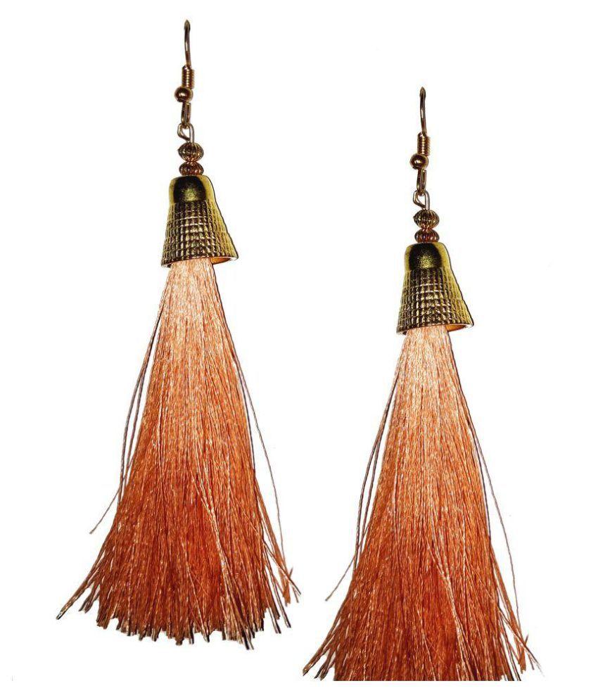 Handmade orange Silk Thread earrings for women & Girls by shrungarika