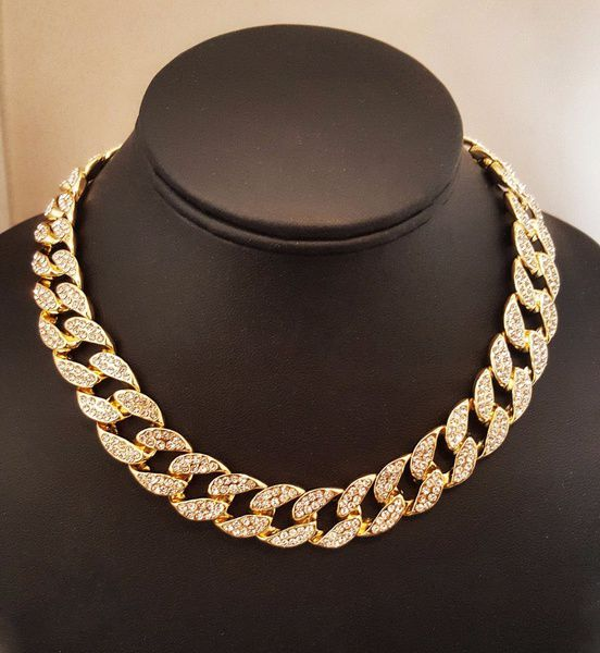 5Size Gold/Silver Iced Out Miami Cuban Necklace Choker Alloy Material Full Rhinestone Crystal Men's Bracelets Hip Hop Necklace Chain Jewelry