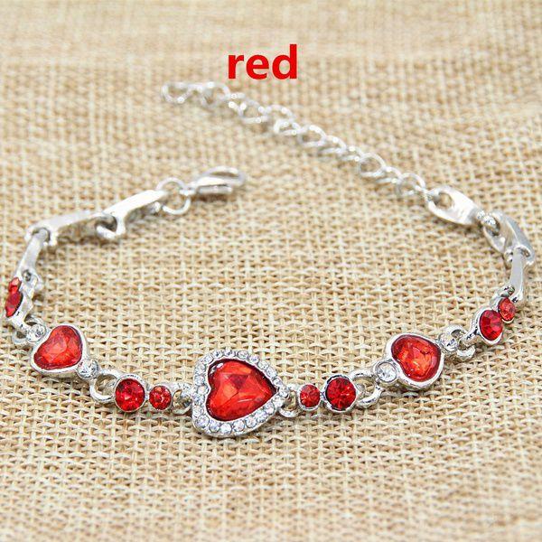 Elegant Women 925 Silver Topaz Heart Bracelet Chain 21cm