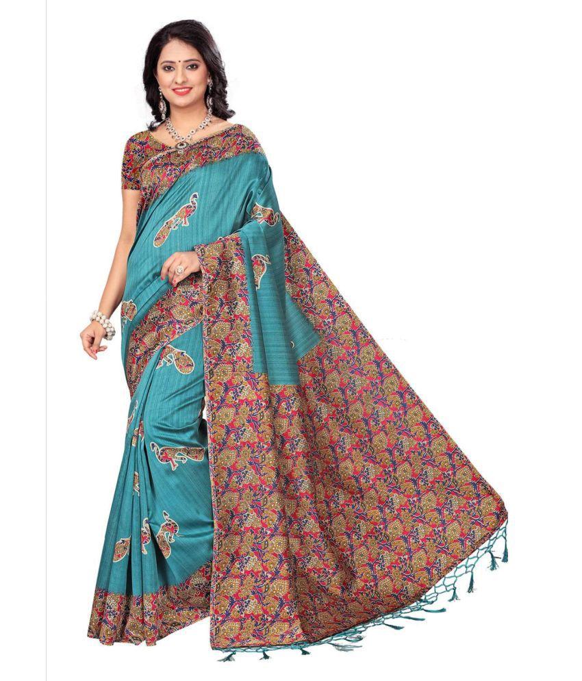 Ozon Designer Fab Blue Cotton Silk Saree