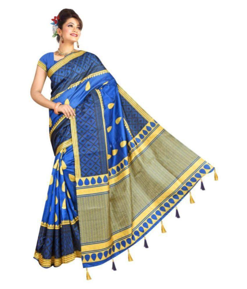 Bellbird Fab Blue and Beige Bangalore Silk Saree