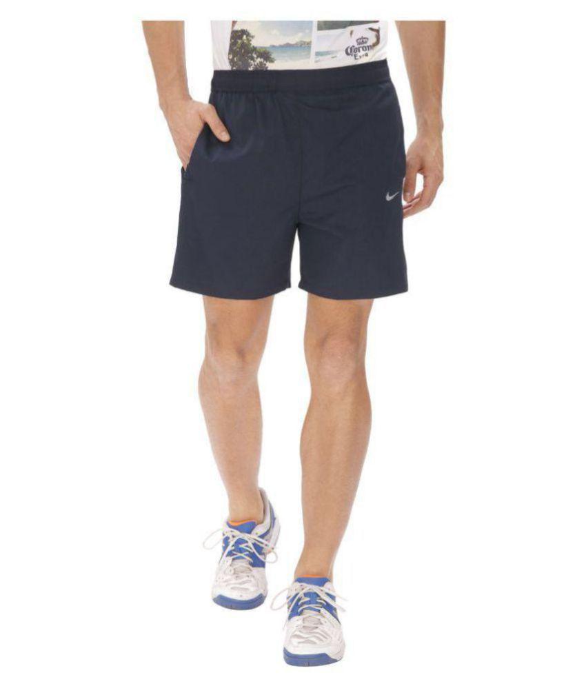 Nike Blue Polyester Lycra Running Shorts