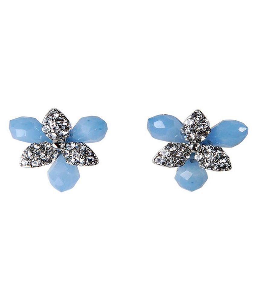 THE BLING STUDIO - Blue Stone Dimond  Stud Earring