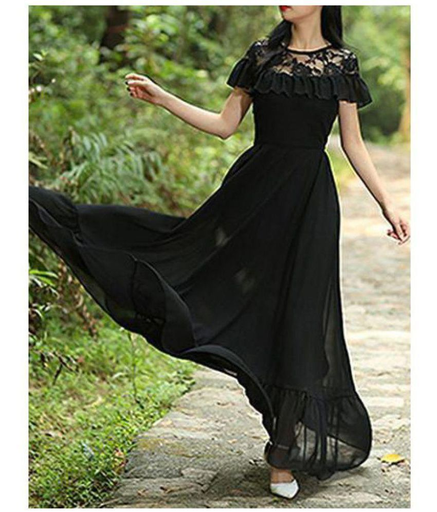 Aashish Fabrics Net Black Fit And Flare Dress