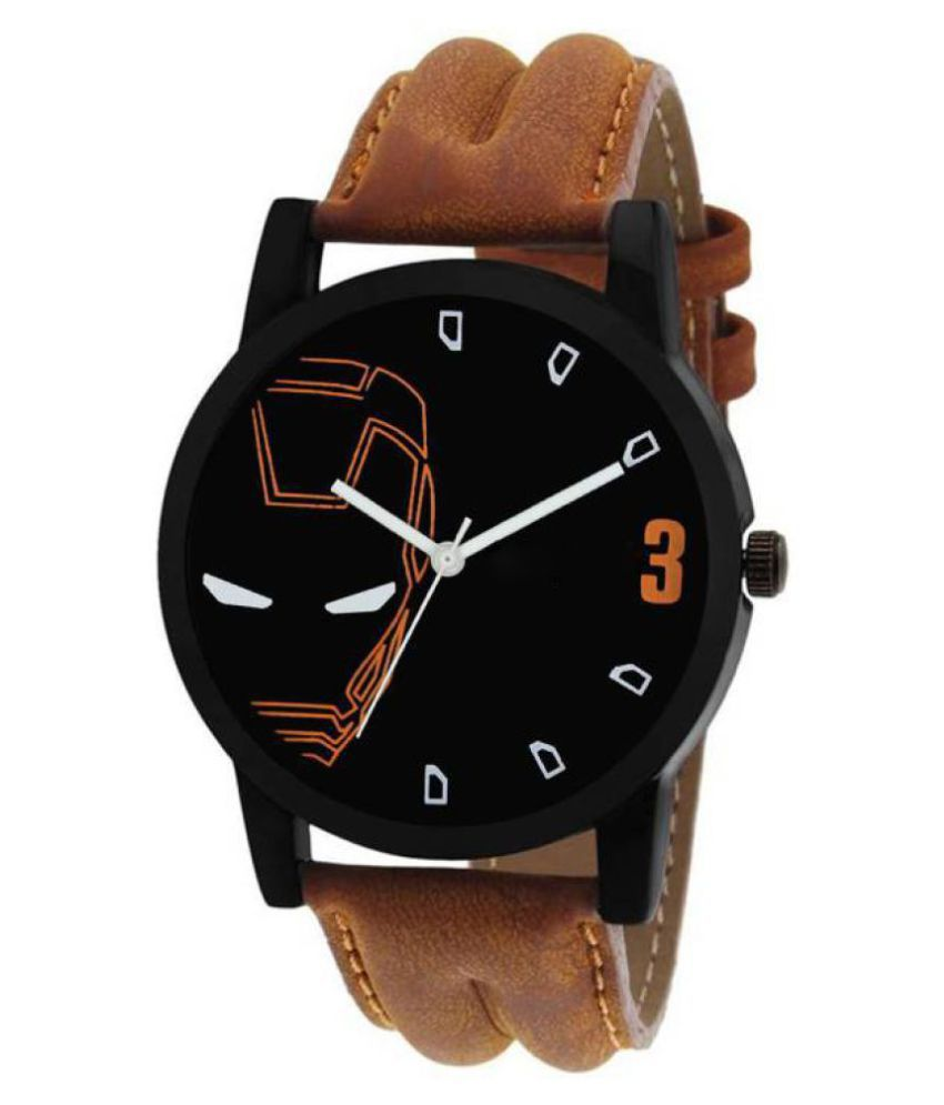 Bhargav-The Brand Brown Leather Strap Black Dial Professional Look  Watch
