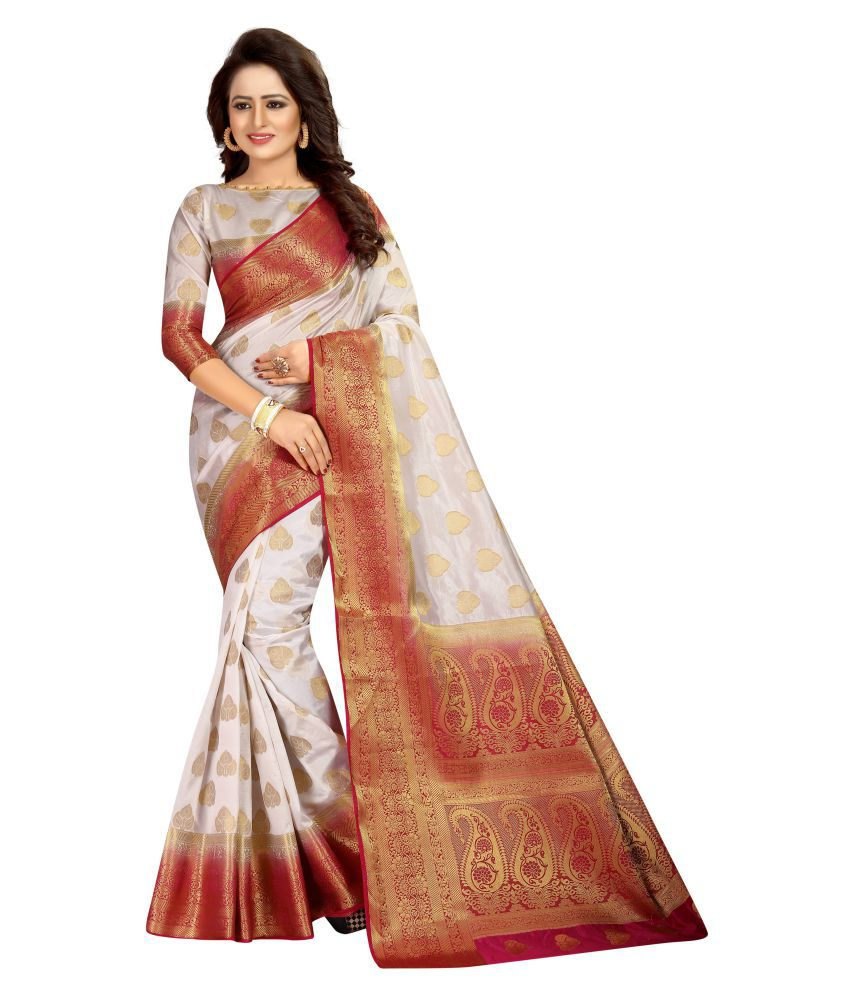 sainath creations White Cotton Silk Saree