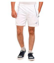 Vego White Polyester Tennis & Badminton Shorts