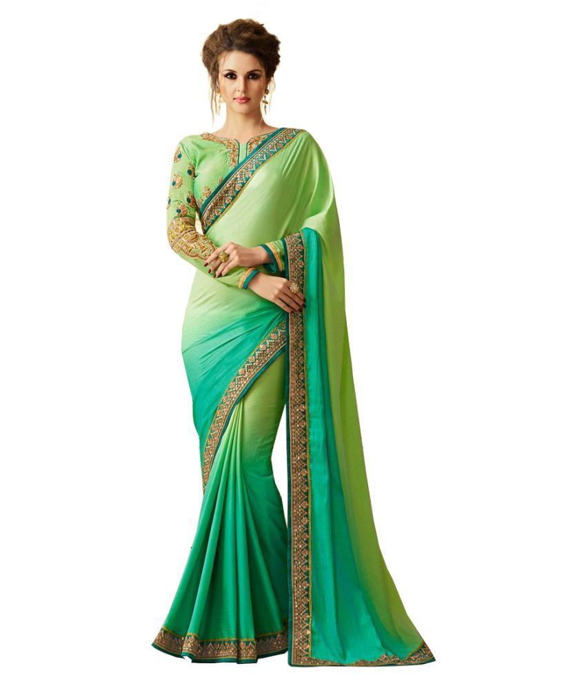 Styloce green Georgette Saree