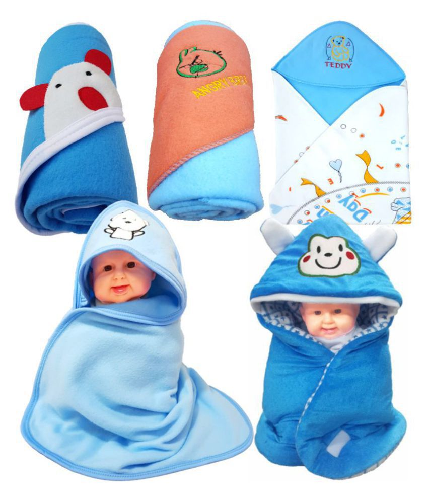 BRANDONN Blue Flannel New born Baby AC Blanket ( 76 cm - 76 cm- 5 pcs)
