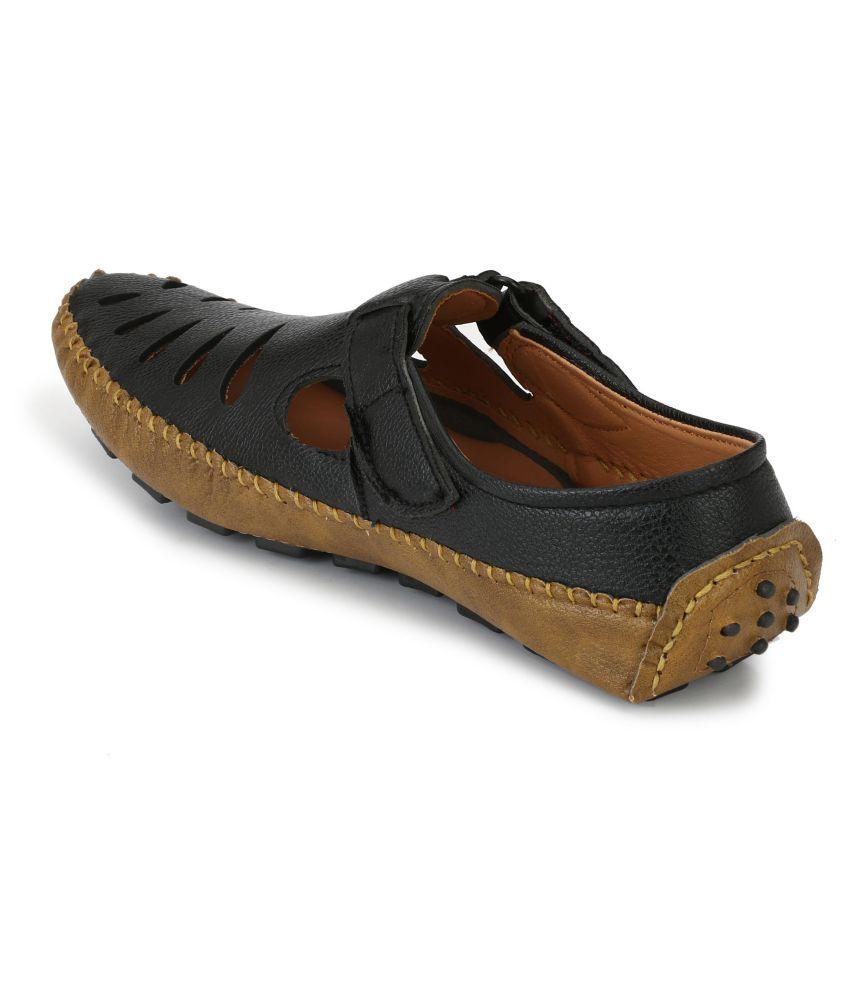 6d7f7253 Big Fox Men's Drive Sandals Lifestyle Black Casual Shoes - Buy Big ...