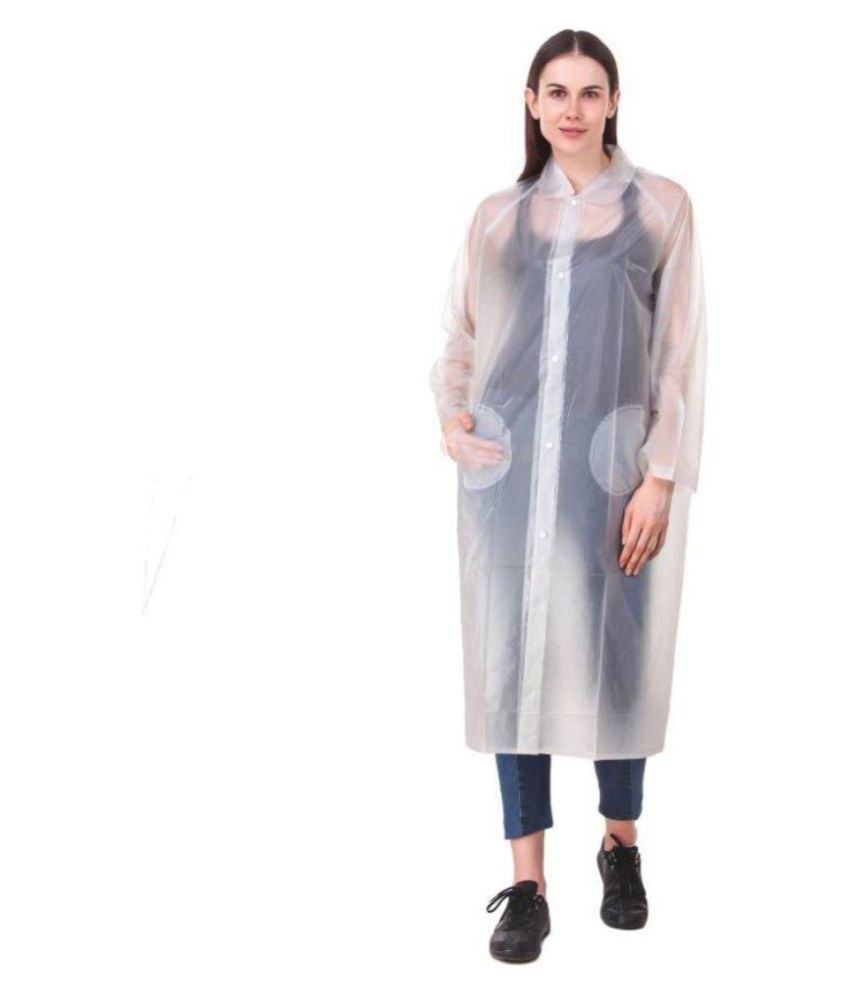 Kartikeya Trading PVC Long Raincoat - White