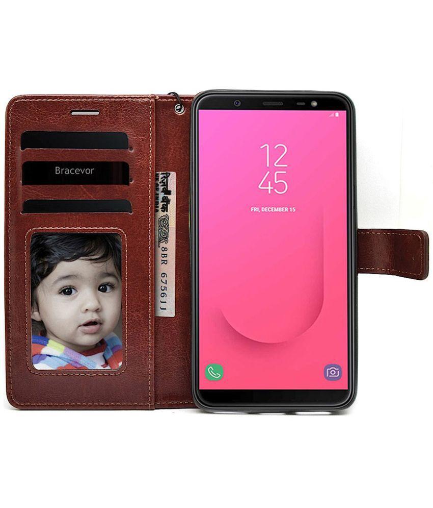 Samsung Galaxy J8 2018 Flip Cover by Bracevor - Brown