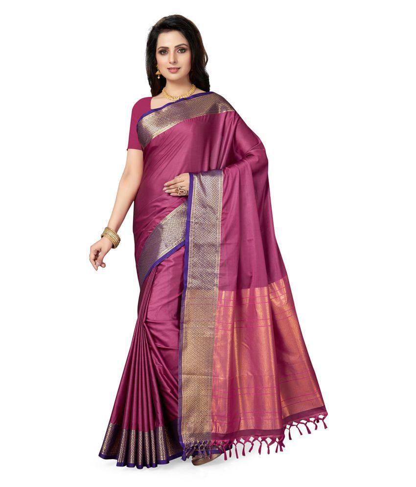 Ishin Pink and Purple Cotton Saree