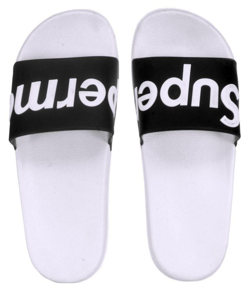13821f1c0 SUPREME White Slide Flip flop Price in India- Buy SUPREME White Slide Flip  flop Online at Snapdeal