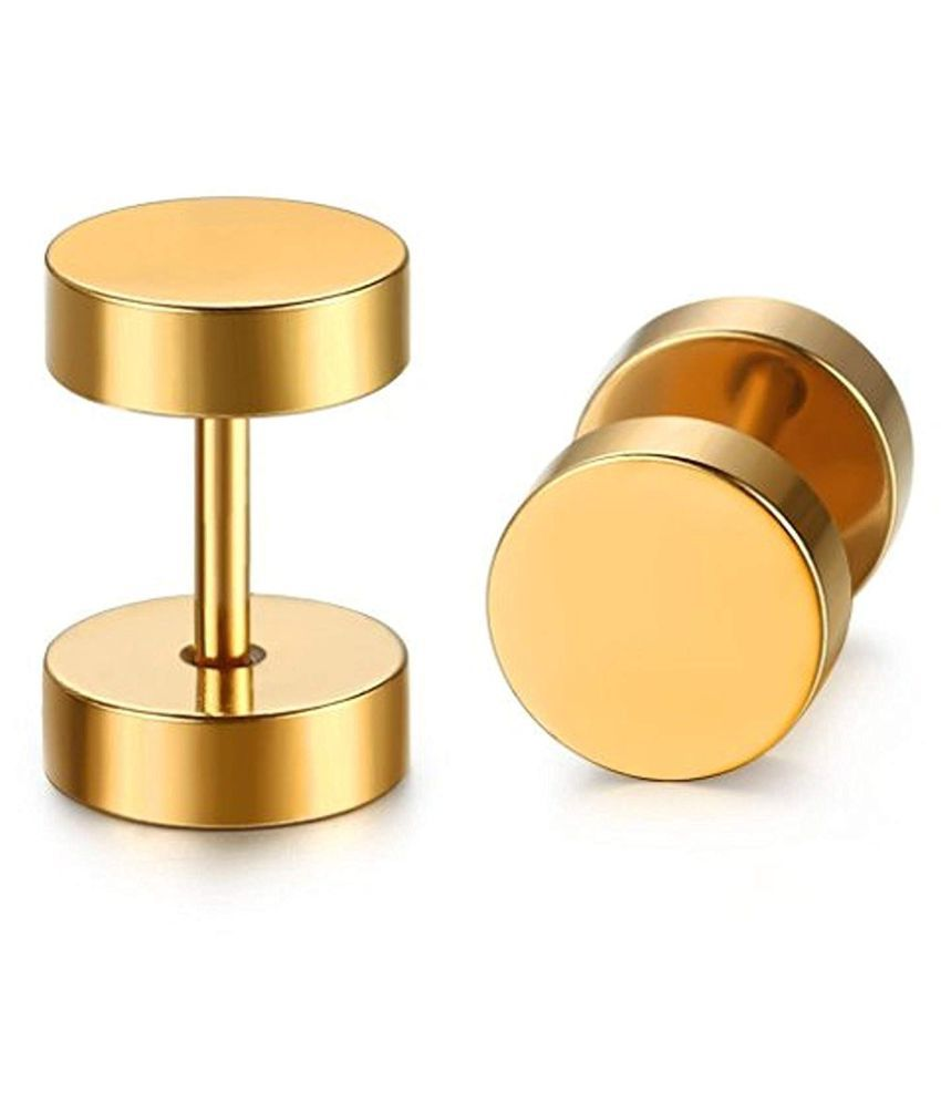 ZIVOM Round Dumbell Barbell 8 mm 316L Surgical Stainless Steel 18K Gold  Ear Stud Earring Pair Boys Men