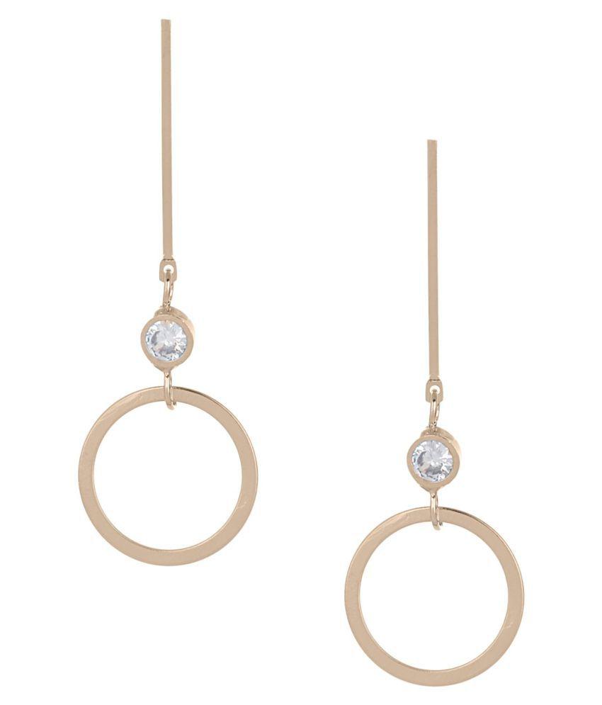 Efulgenz Fashion Jewellery Stylish Gold/ Silver Plated CZ Tassel Geometric Dangle Drop Earrings for Girls Women Love Gift