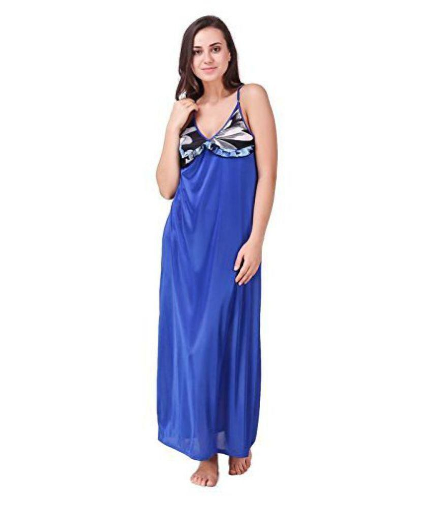 Nityakshi Satin Nighty & Night Gowns - Blue