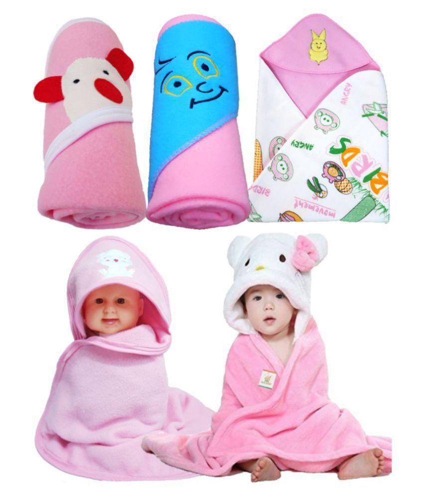 BRANDONN Multi-Colour Flannel New born Baby AC Blanket ( 76 cm - 76 cm- 5 pcs)