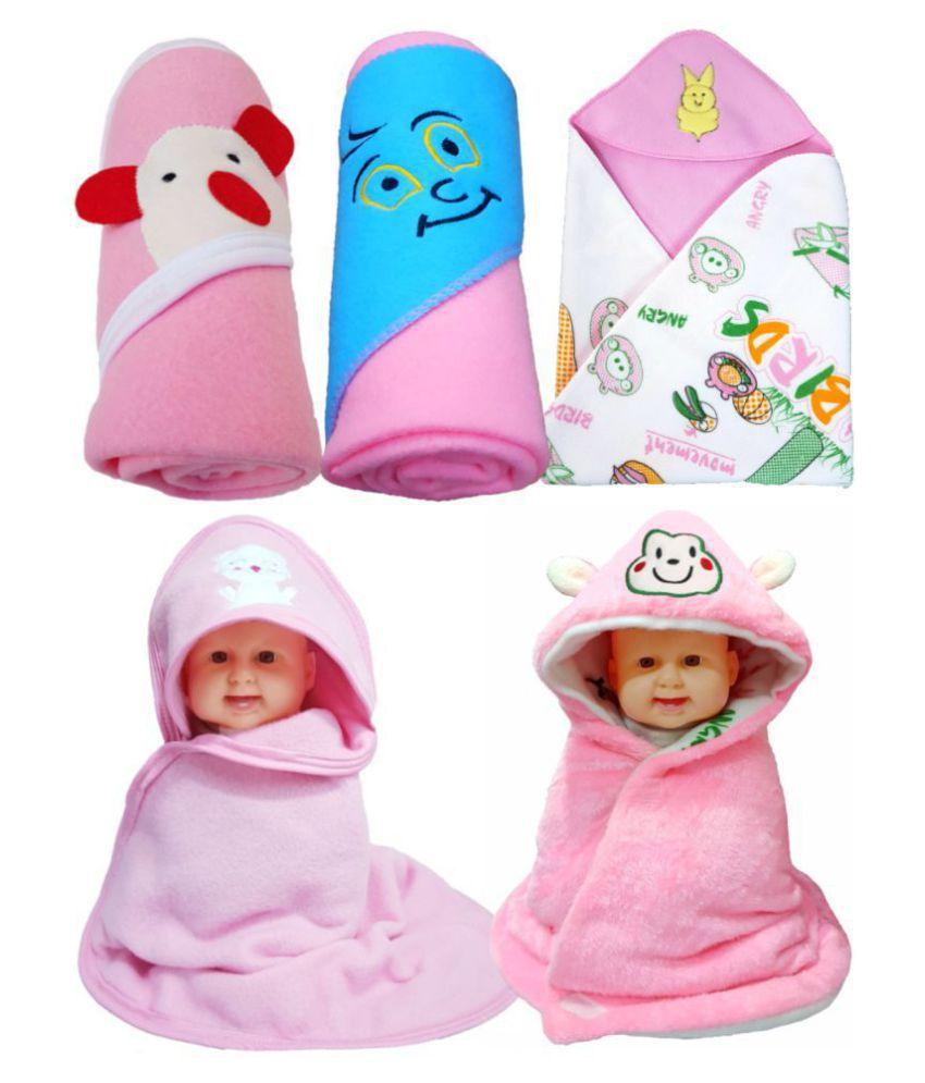 BRANDONN Pink Flannel New born Baby AC Blanket ( 76 cm - 76 cm- 5 pcs)