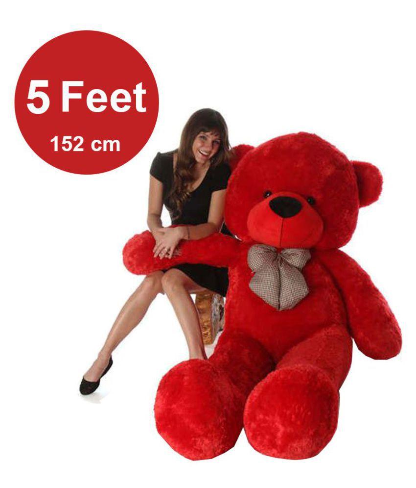 04e41f6871e ... AVS 5 Feet Stuffed Spongy Huggable Cute Teddy Bear - 152 cm (Red Color)  ...