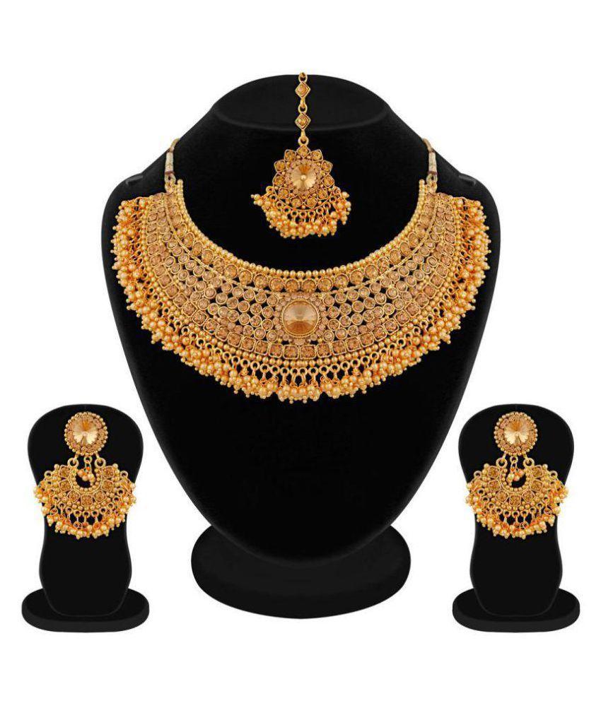 Apara Bridal Pearl Lct Stones Gold Necklace Set Jewellery: Apara Bridal Pearl LCT Stones Gold Necklace Artificial