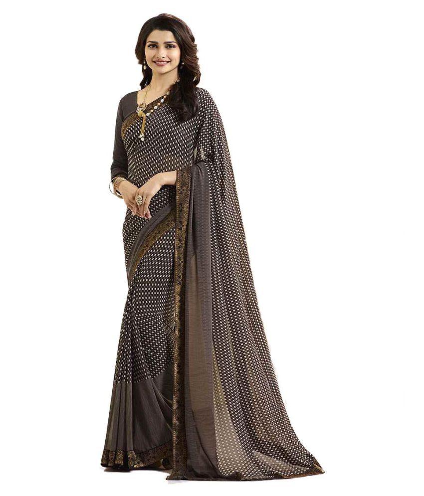 68463602cf Gazal Fashions Grey Chiffon Saree - Buy Gazal Fashions Grey Chiffon ...