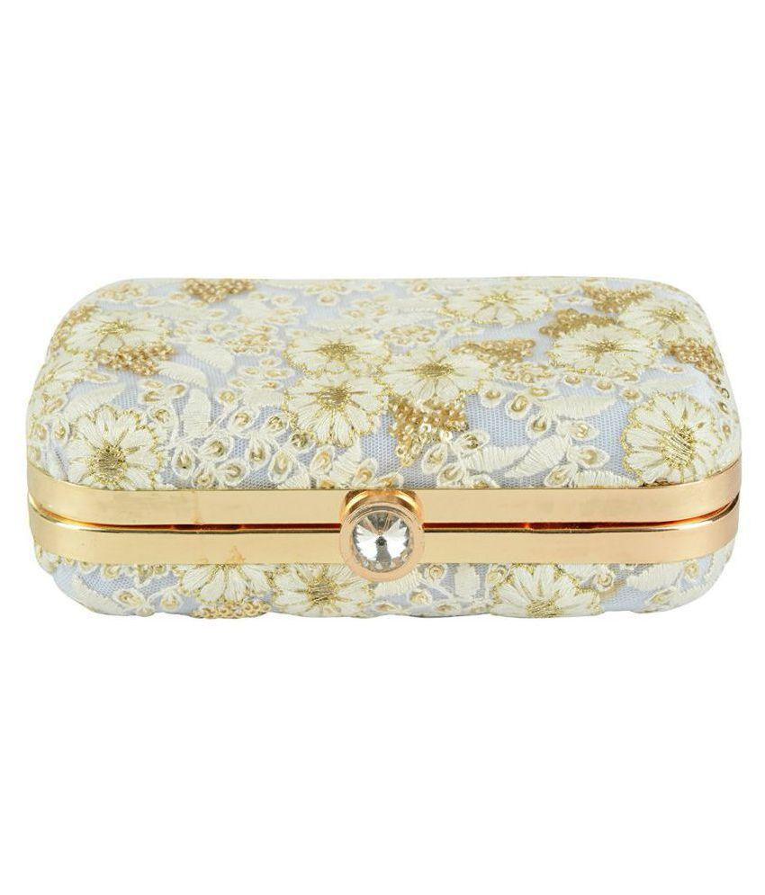Tooba Handicraft White Fabric Box Clutch