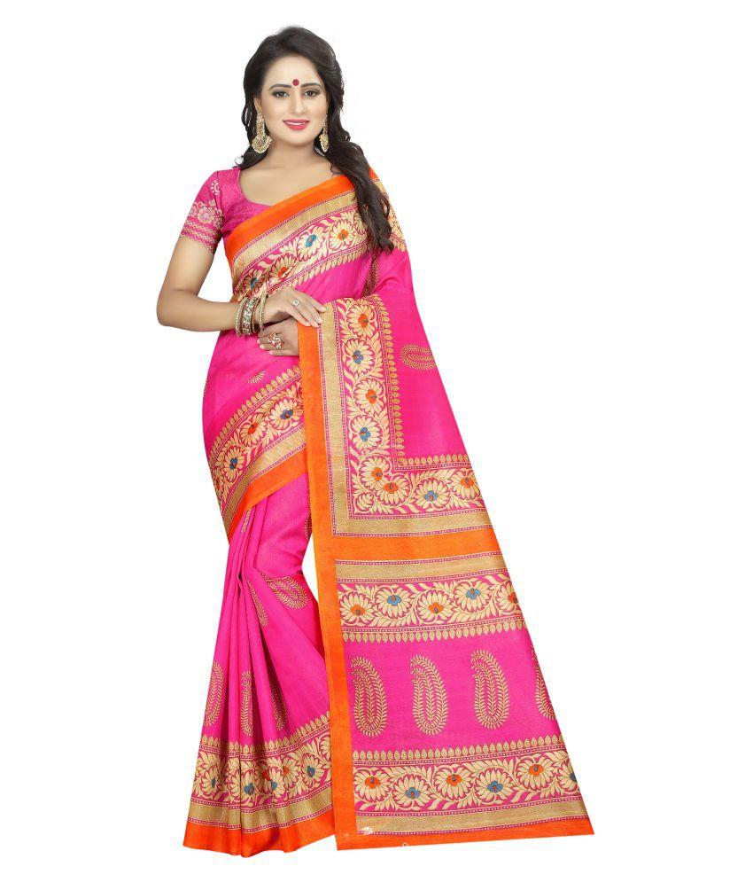 HashTag Fashion Pink and Beige Banarasi Silk Saree