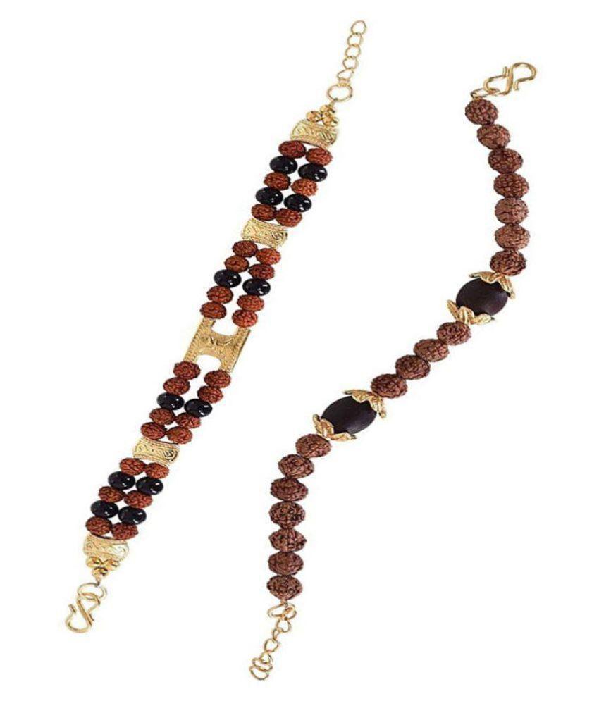 SOLITARE Gold Plated Pearl Rudraksha Bracelet for Men(Set of 2)