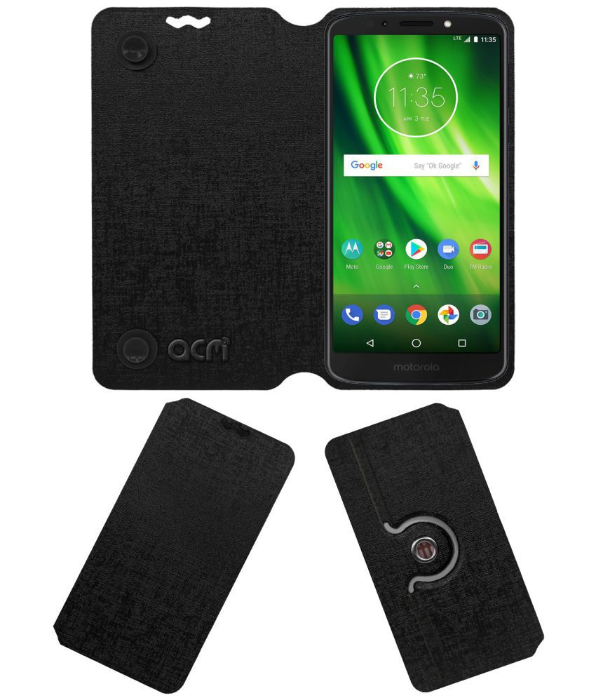 Moto G6 Play Flip Cover by ACM - Black Dual Side Stand