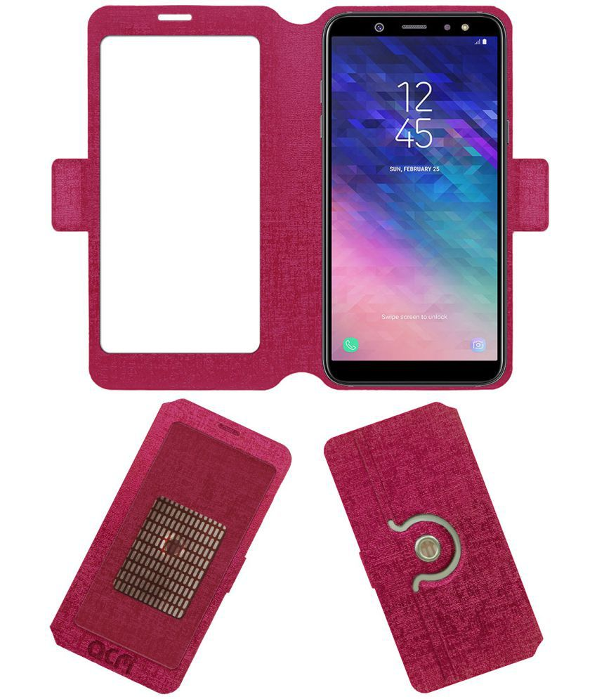 Samsung Galaxy A6 Flip Cover by ACM - Pink Dual Side Stand