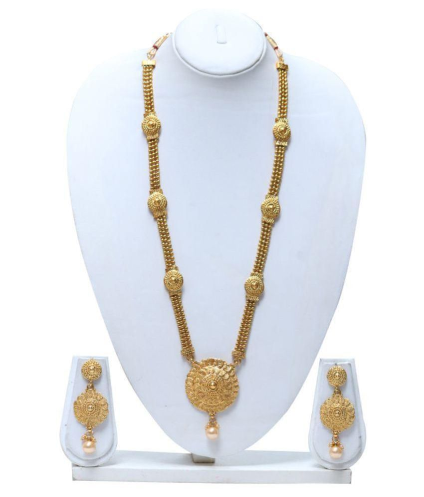 b94cc36037 ... Artificial Gold Plated Long Necklace Set - Buy Swarajshop Beautiful  Antique Artificial Gold Plated Long Necklace Set Online at Best Prices in  India on ...