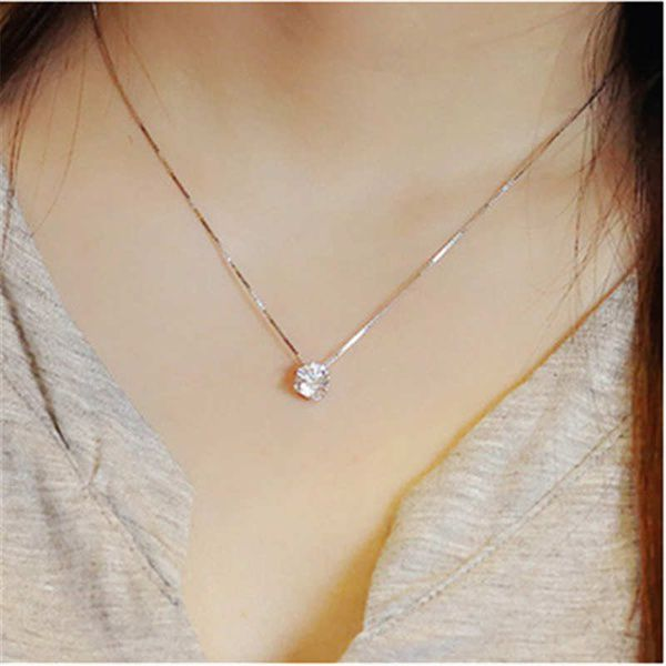 Korean Women Fashion 925 Sterling Silver Jewelry Inlaid Diamond Short Necklace Clavicle Chain