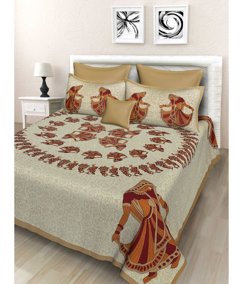 Fashion Dziner Cotton Double Bedsheet with 2 Pillow Covers