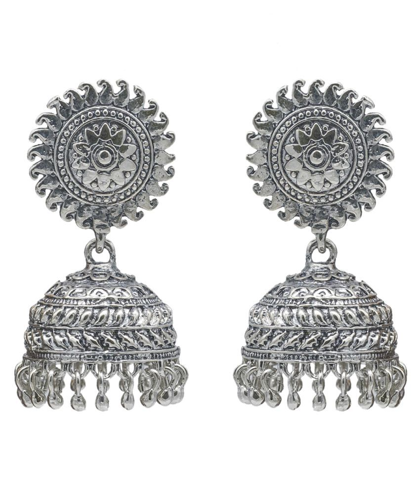Kiyara Accessories Fashion Jewellery Floral Design Sun Temple Jhumki Earrings with Antique Silver Plating for Women and Girls