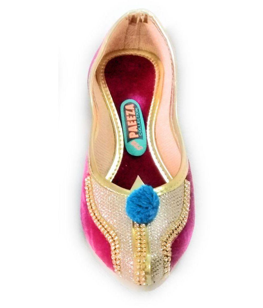 Fashion World Pink Ethnic Footwear